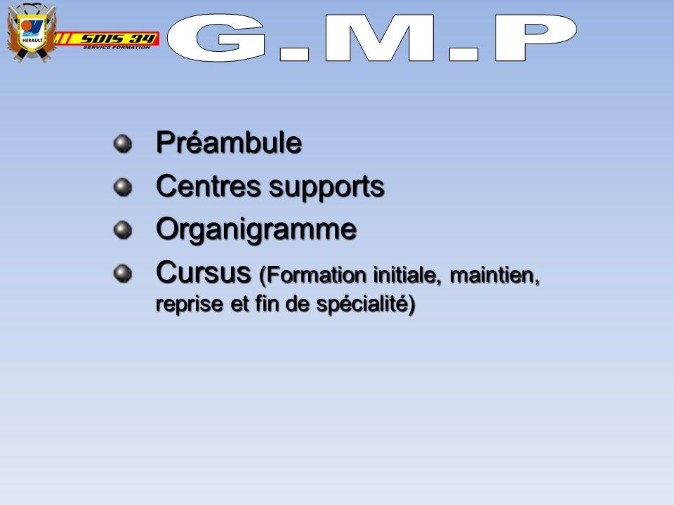G.M.P Préambule Centres supports Organigramme