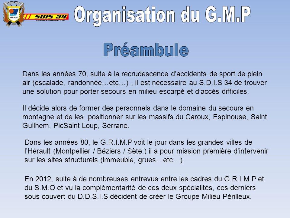 Organisation du G.M.P Préambule