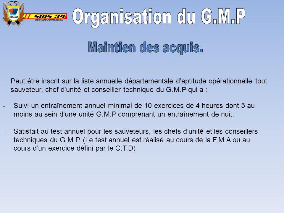 Organisation du G.M.P Maintien des acquis.