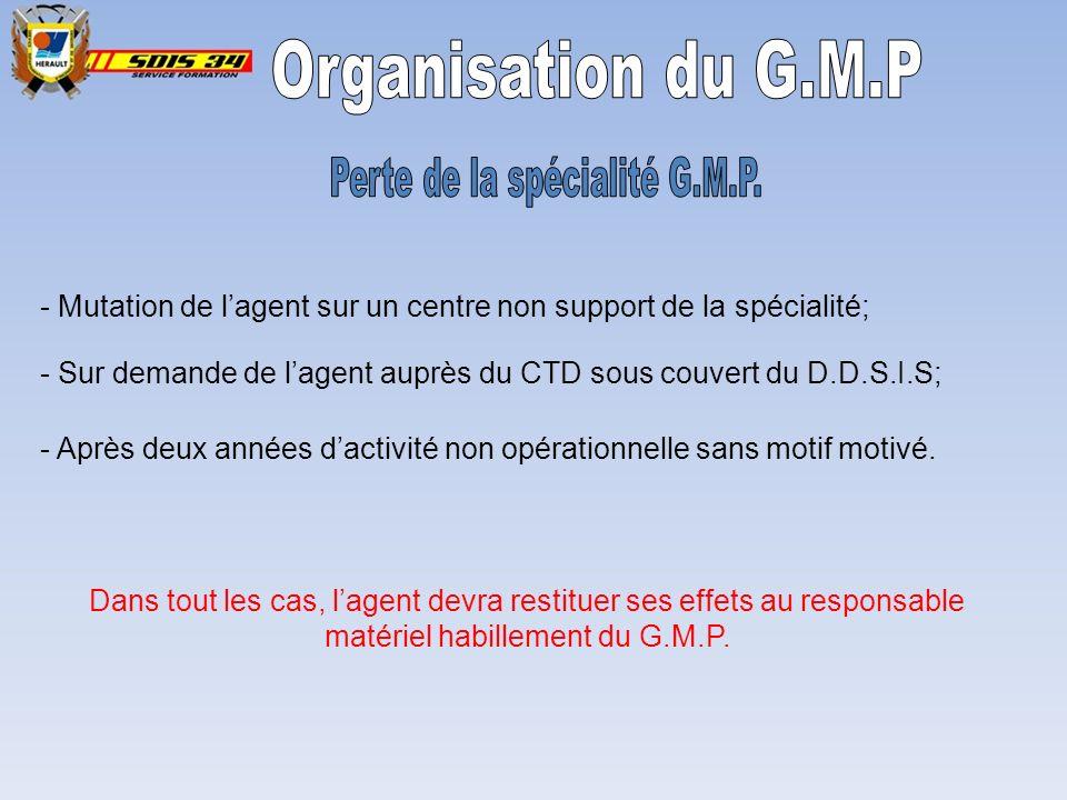 Perte de la spécialité G.M.P.