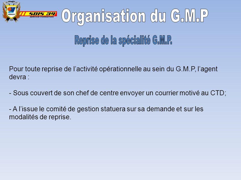 Reprise de la spécialité G.M.P.