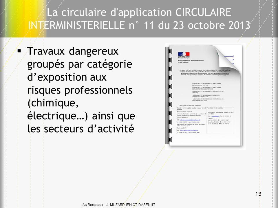 La circulaire d application CIRCULAIRE INTERMINISTERIELLE n° 11 du 23 octobre 2013