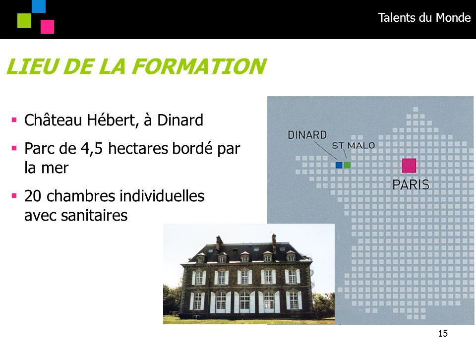 LIEU DE LA FORMATION Château Hébert, à Dinard