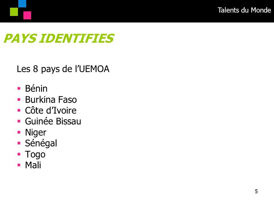 PAYS IDENTIFIES Les 8 pays de l'UEMOA Bénin Burkina Faso Côte d'Ivoire