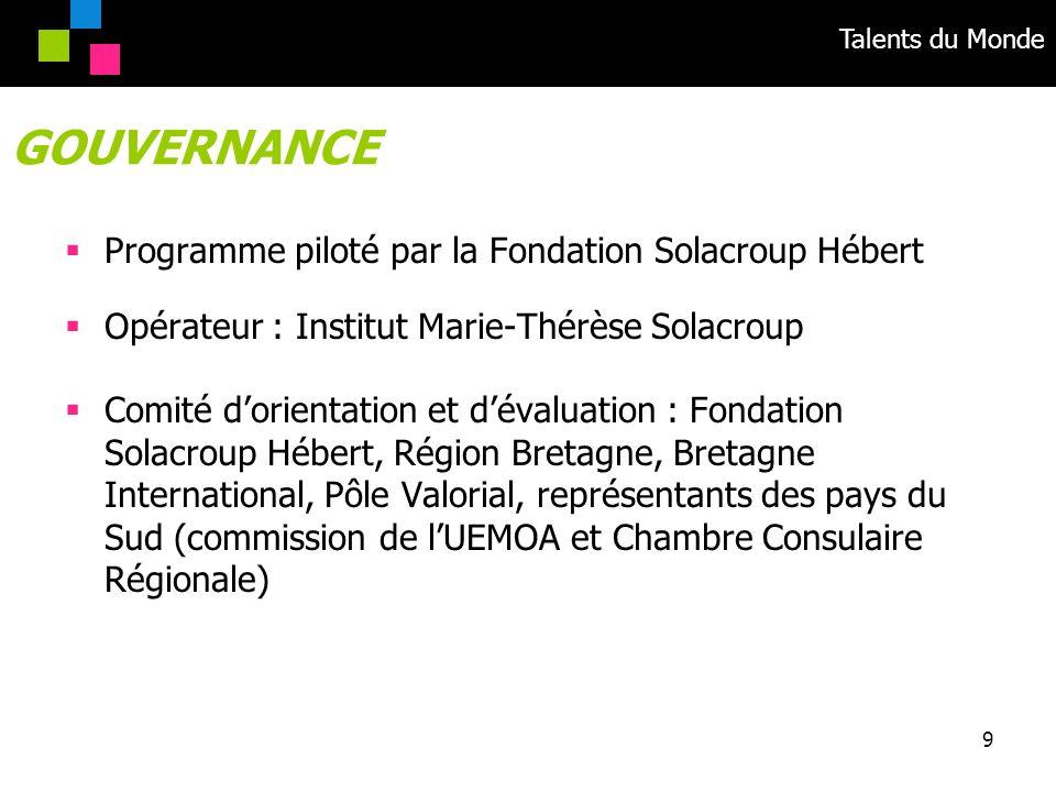 GOUVERNANCE Programme piloté par la Fondation Solacroup Hébert