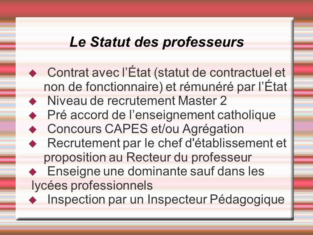 Le Statut des professeurs