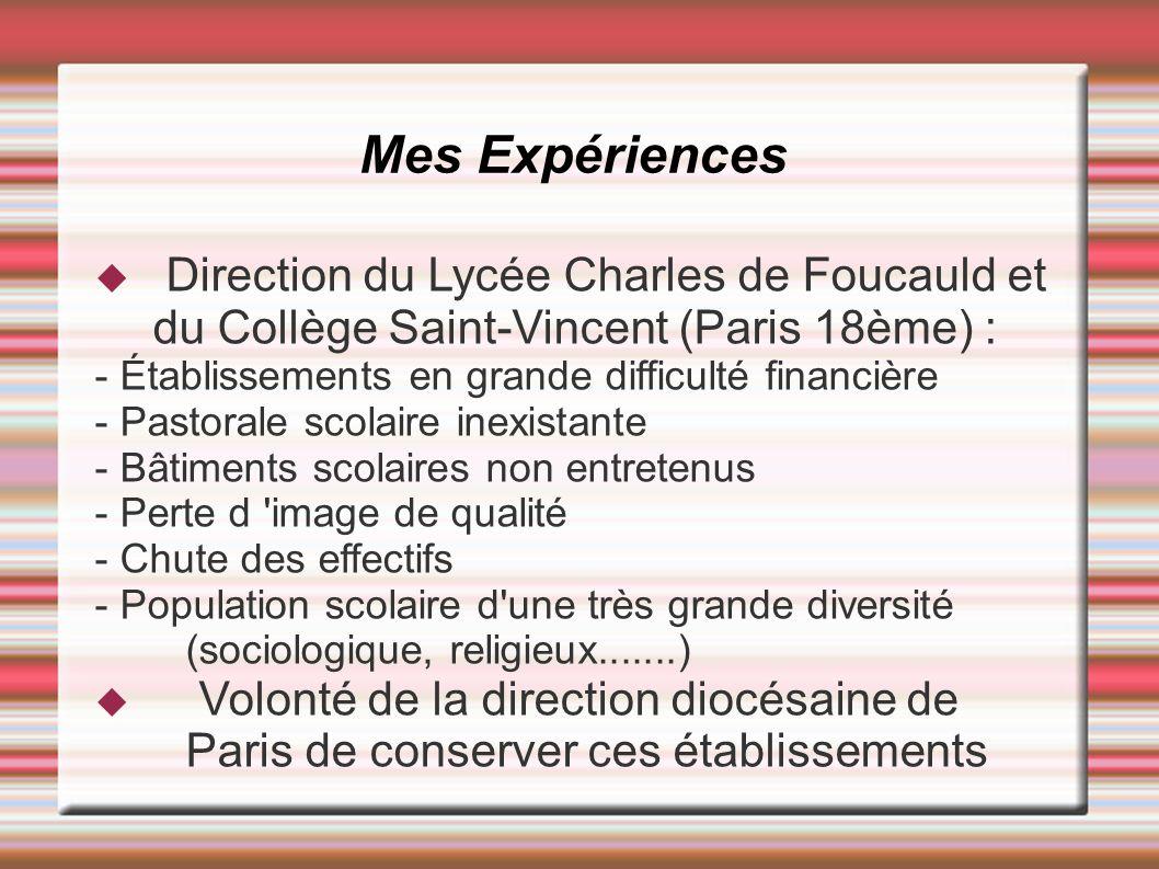 Mes Expériences Direction du Lycée Charles de Foucauld et du Collège Saint-Vincent (Paris 18ème) :
