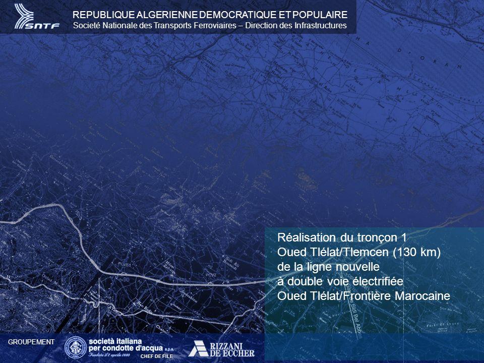 Réalisation du tronçon 1 Oued Tlélat/Tlemcen (130 km) de la ligne nouvelle à double voie électrifiée Oued Tlélat/Frontière Marocaine