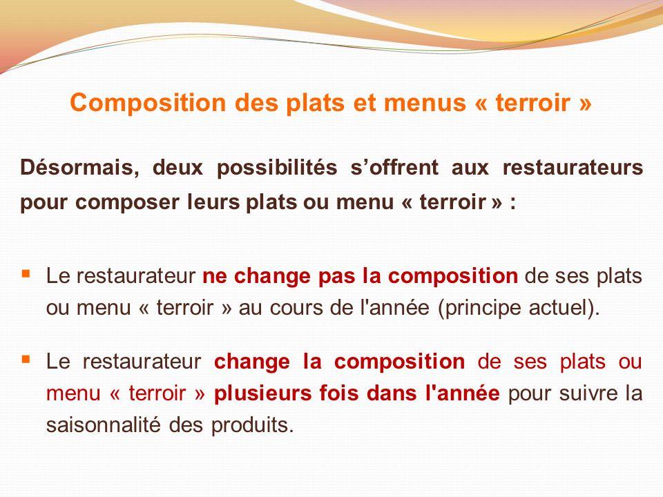 Composition des plats et menus « terroir »