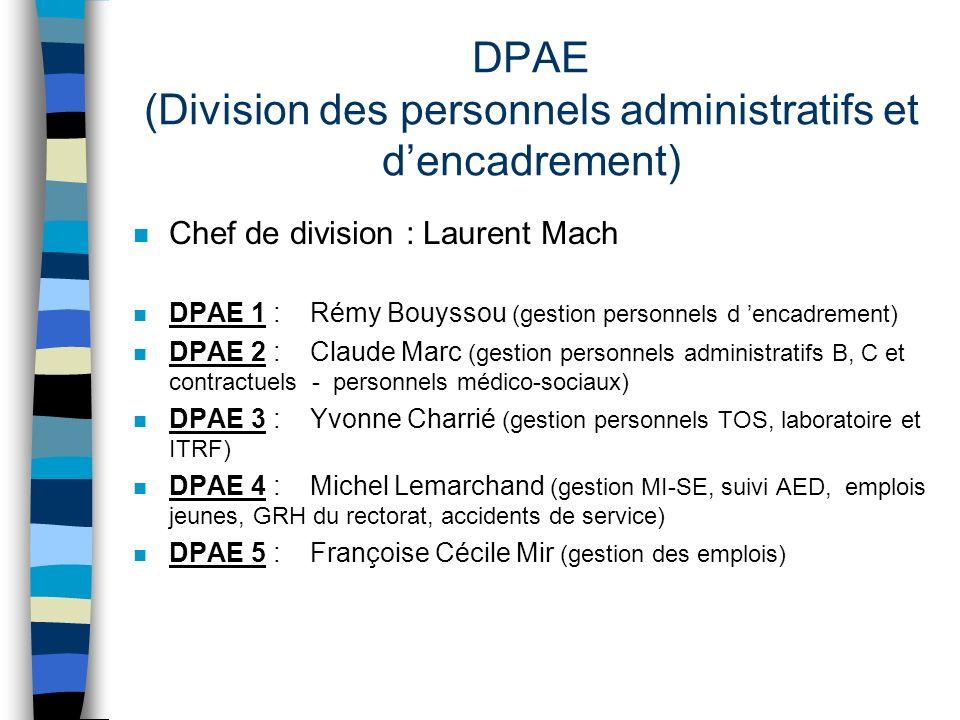 DPAE (Division des personnels administratifs et d'encadrement)