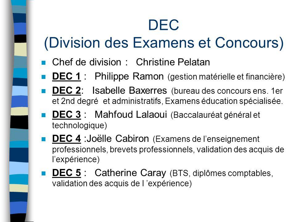 DEC (Division des Examens et Concours)