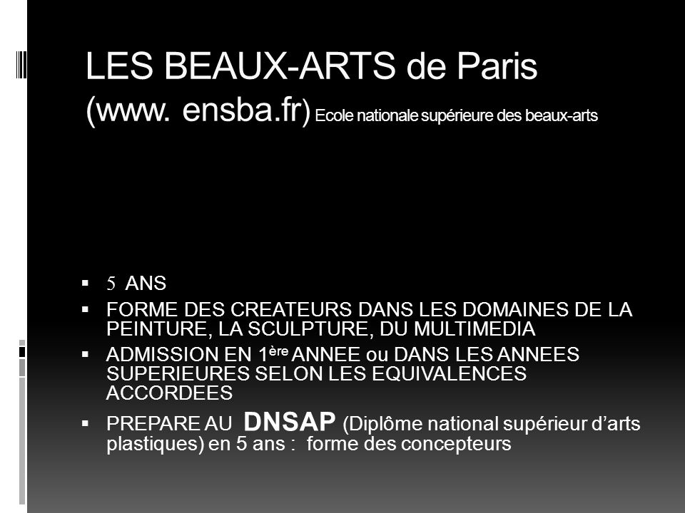 LES BEAUX-ARTS de Paris (www. ensba