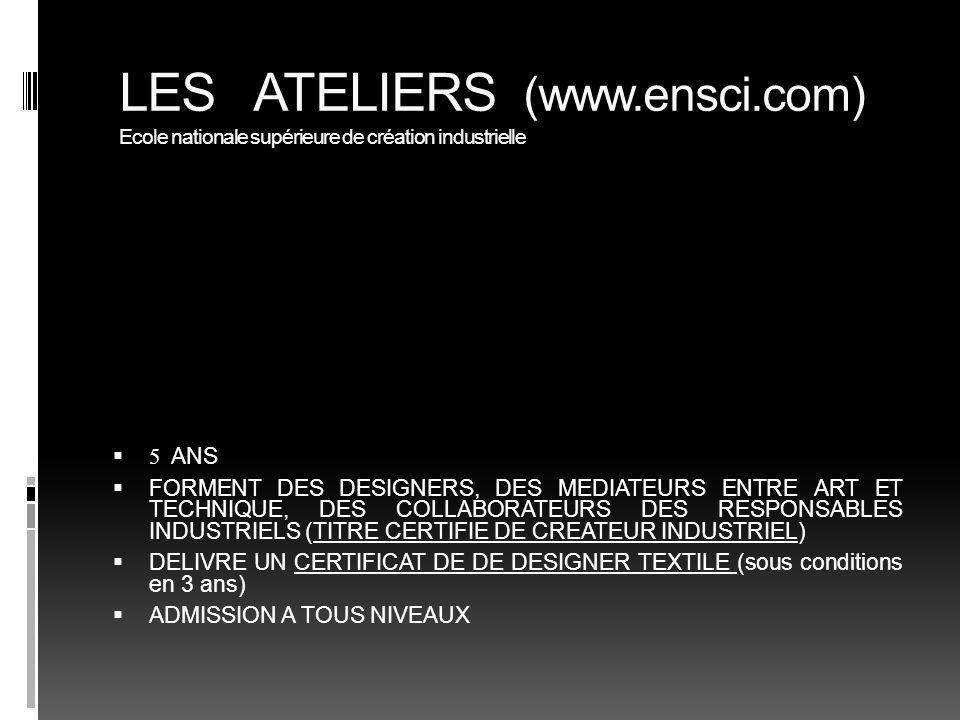 LES ATELIERS (www. ensci