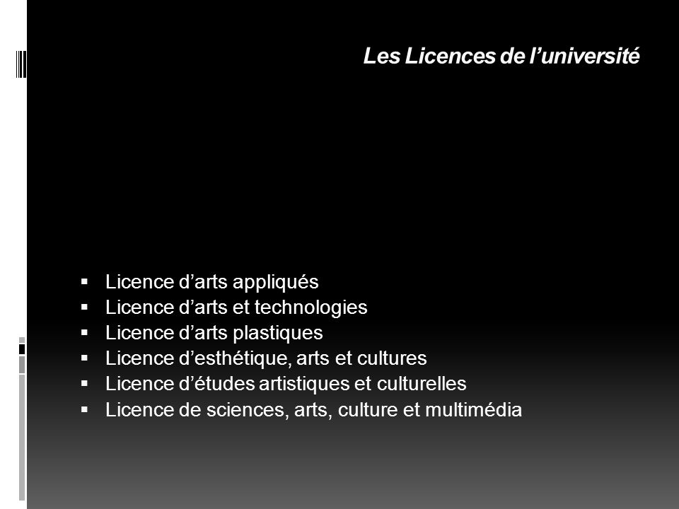 Les Licences de l'université