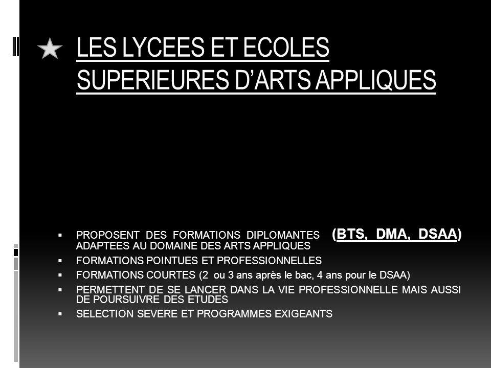 LES LYCEES ET ECOLES SUPERIEURES D'ARTS APPLIQUES