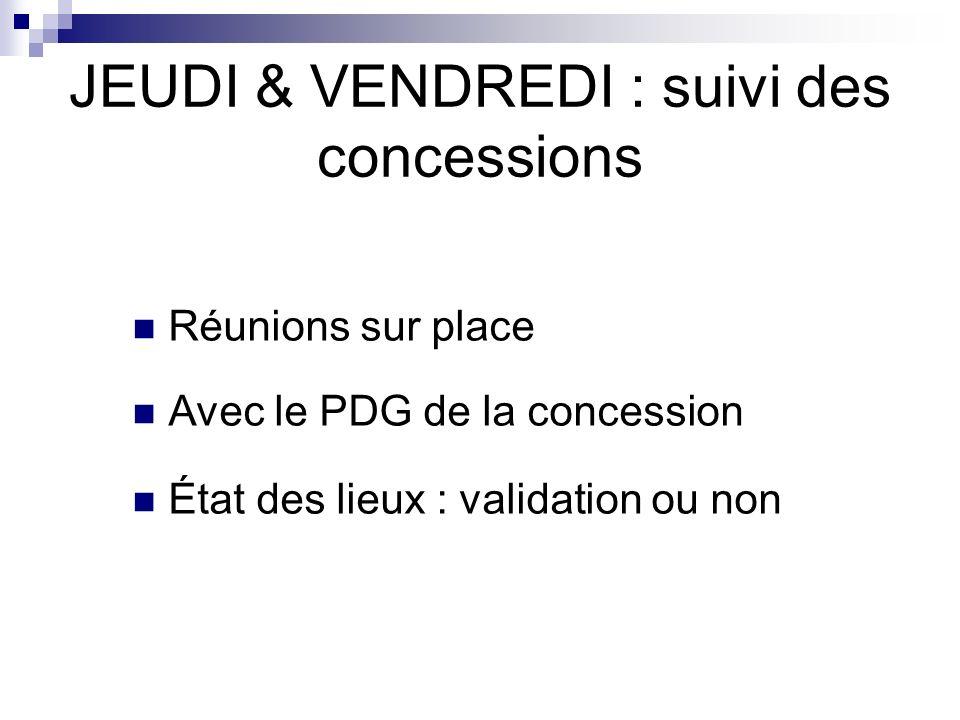 JEUDI & VENDREDI : suivi des concessions