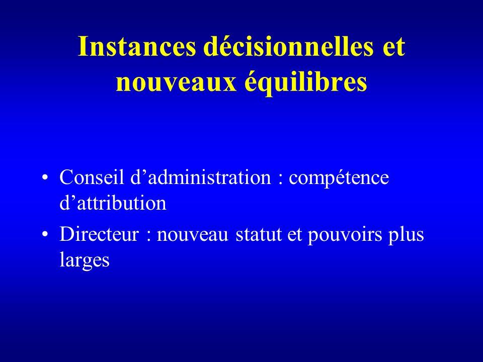Instances décisionnelles et nouveaux équilibres