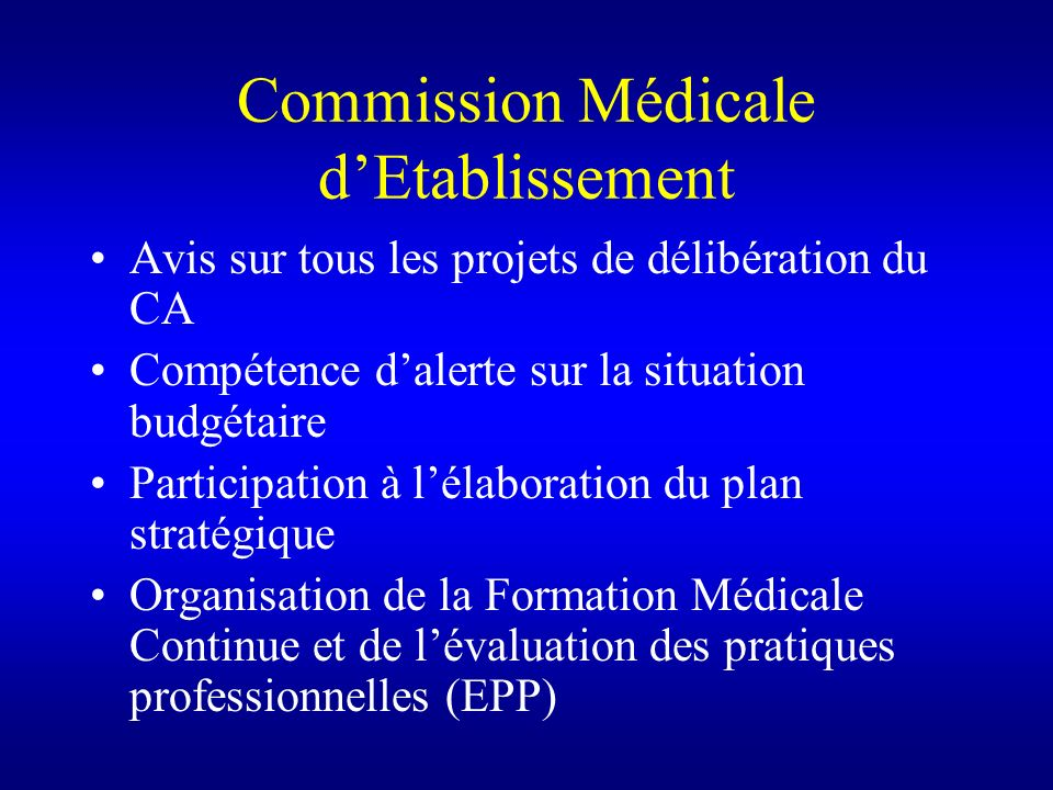 Commission Médicale d'Etablissement