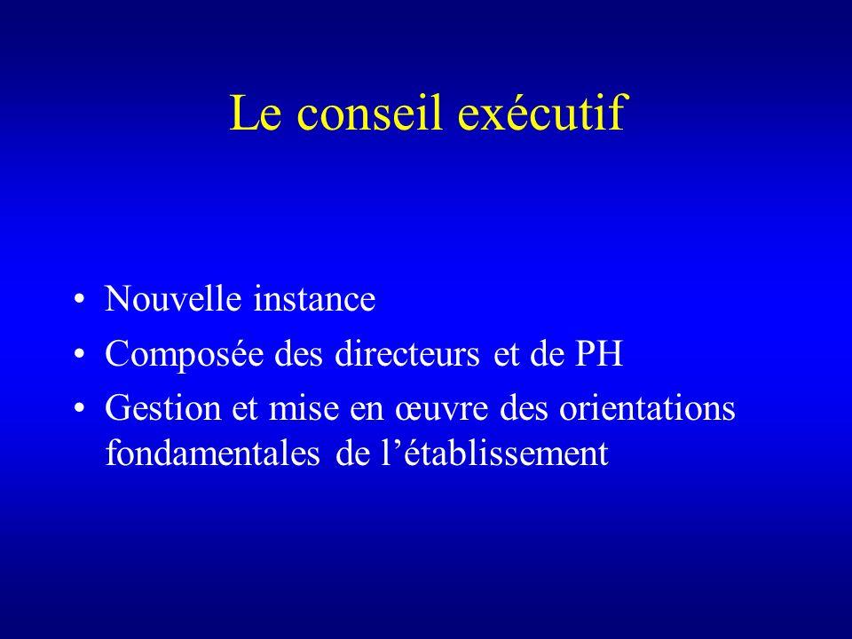 Le conseil exécutif Nouvelle instance Composée des directeurs et de PH