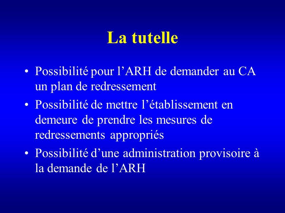 La tutelle Possibilité pour l'ARH de demander au CA un plan de redressement.