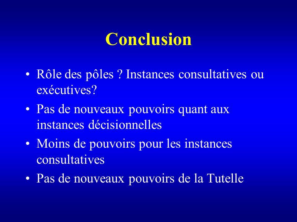 Conclusion Rôle des pôles Instances consultatives ou exécutives