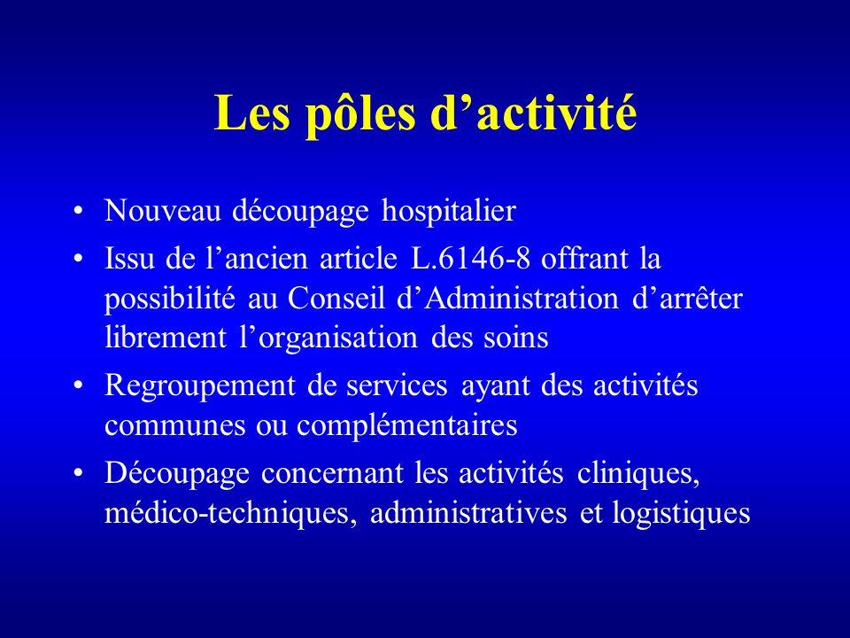 Les pôles d'activité Nouveau découpage hospitalier