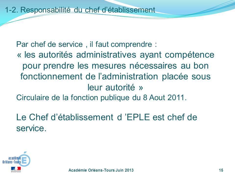 Le Chef d'établissement d 'EPLE est chef de service.