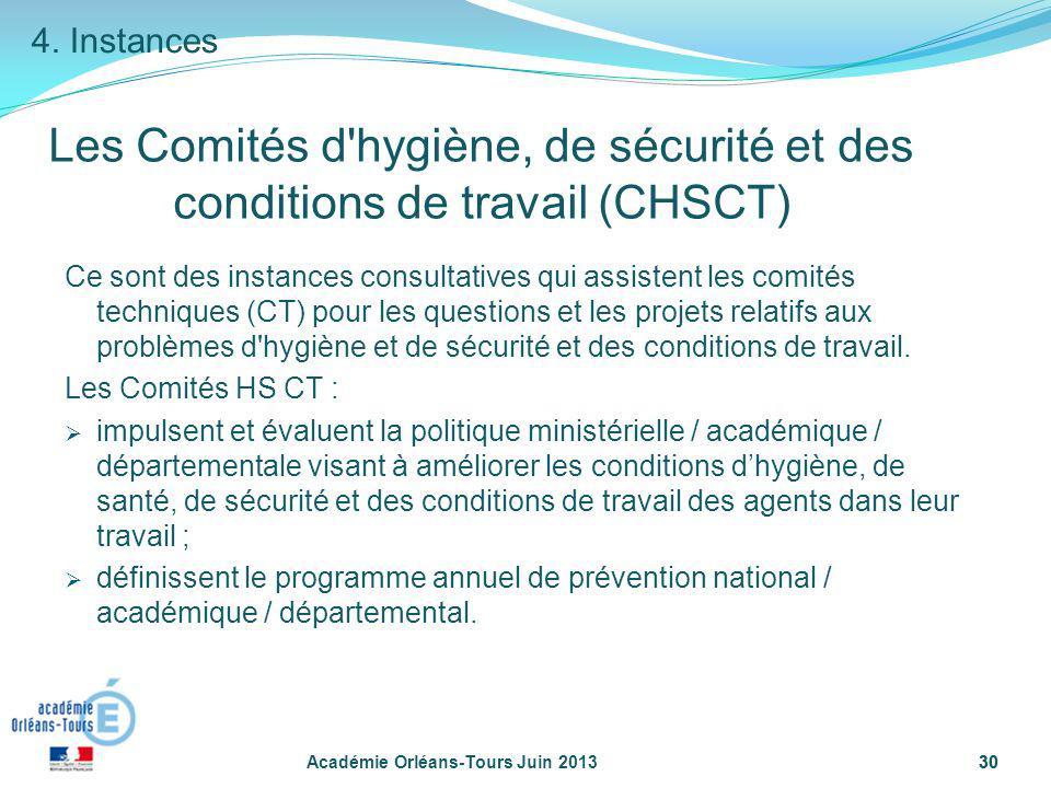 4. Instances Les Comités d hygiène, de sécurité et des conditions de travail (CHSCT)