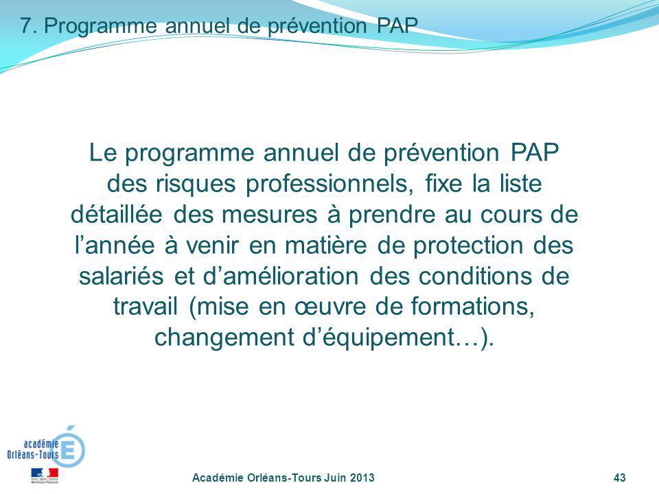 7. Programme annuel de prévention PAP