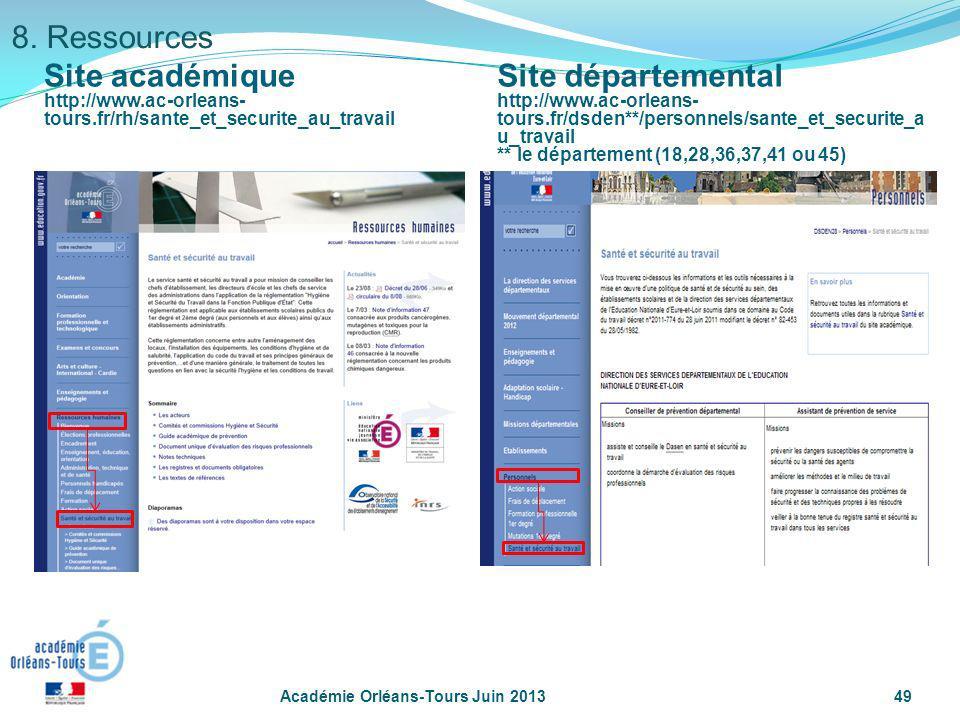 8. Ressources Site académique Site départemental