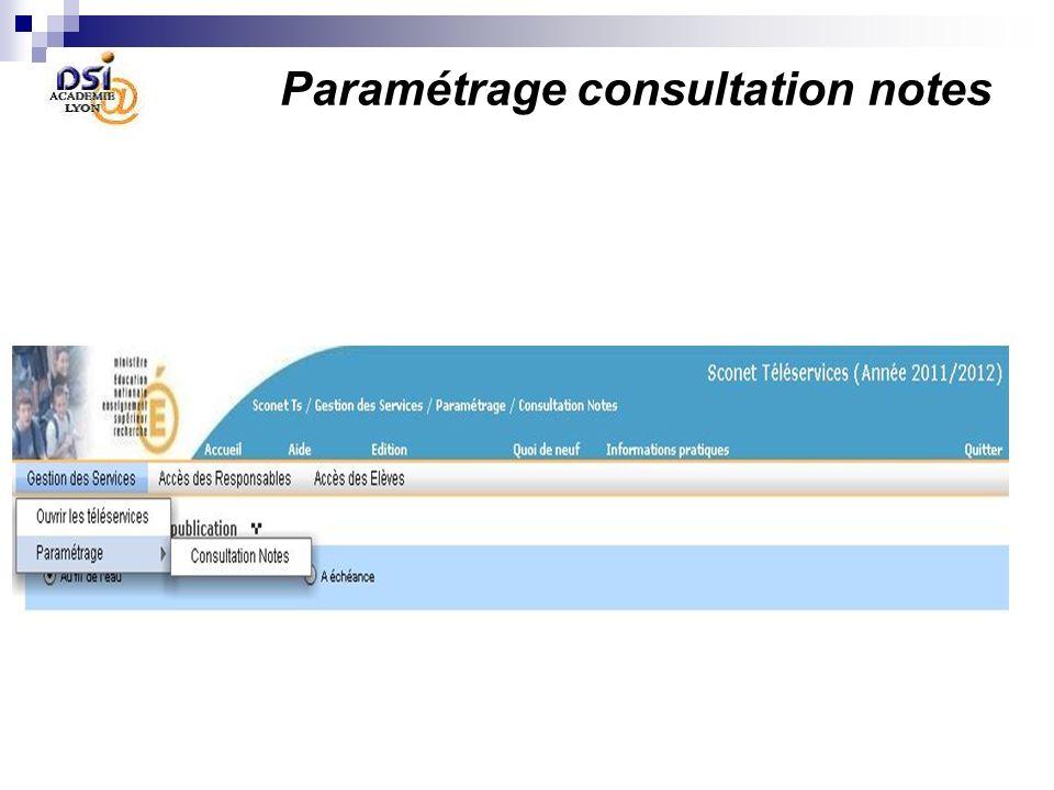 Paramétrage consultation notes