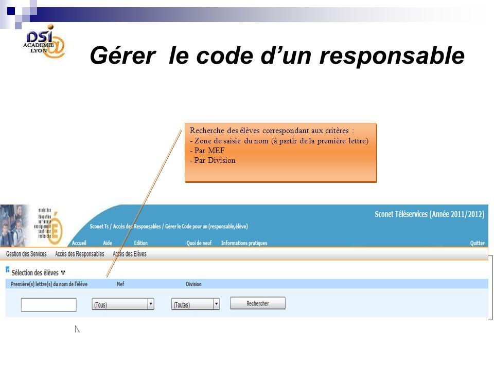 Gérer le code d'un responsable