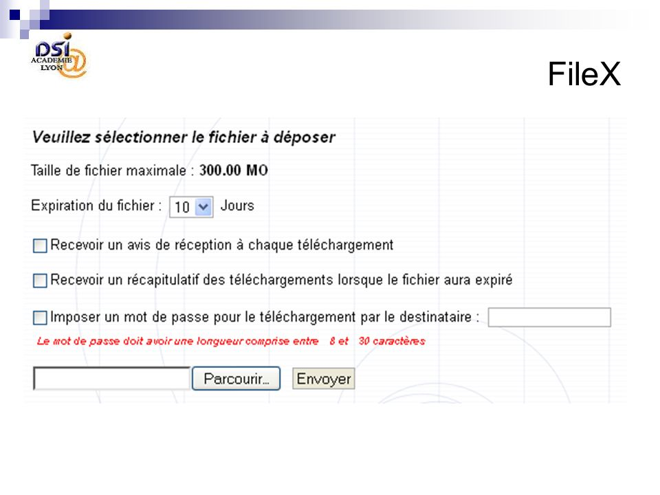 FileX Déposer un fichier