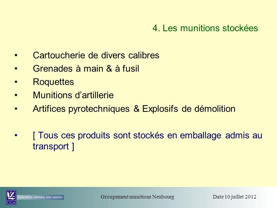 4. Les munitions stockées