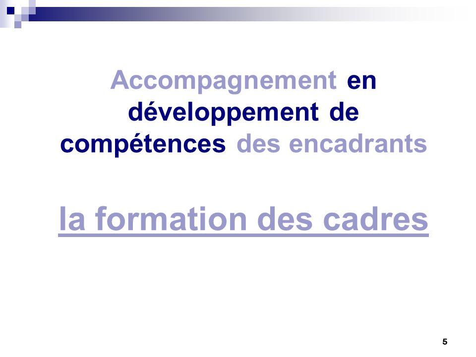 Accompagnement en développement de compétences des encadrants la formation des cadres