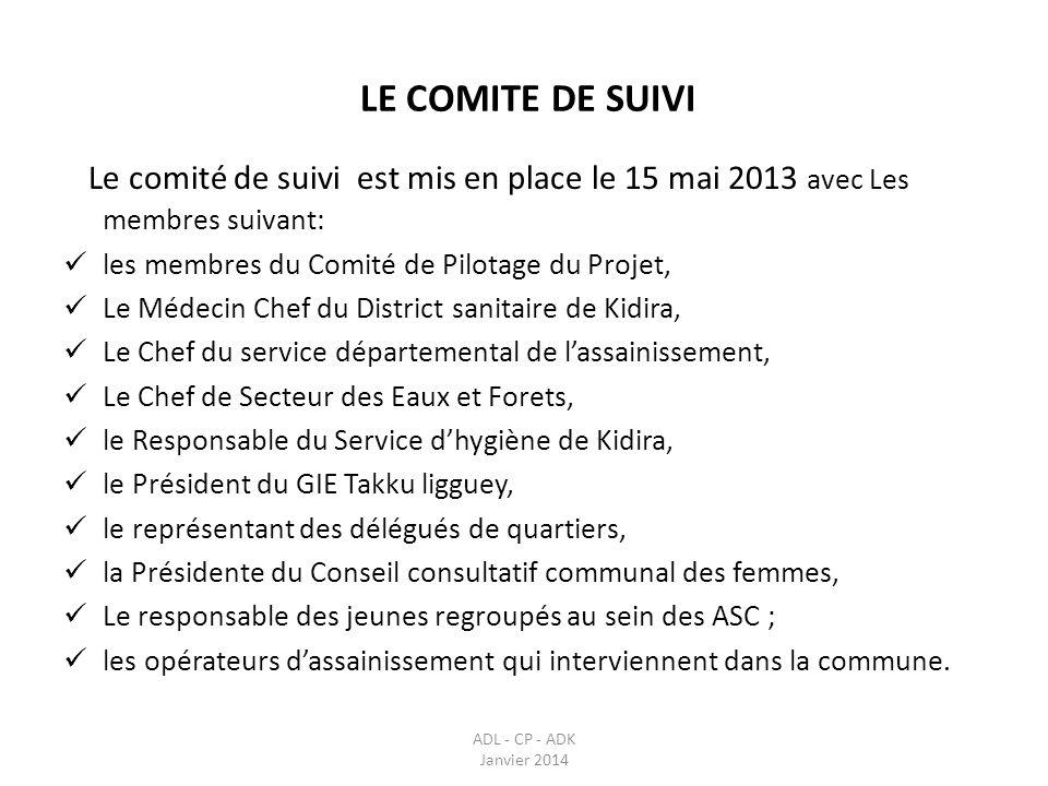 LE COMITE DE SUIVI Le comité de suivi est mis en place le 15 mai 2013 avec Les membres suivant: les membres du Comité de Pilotage du Projet,