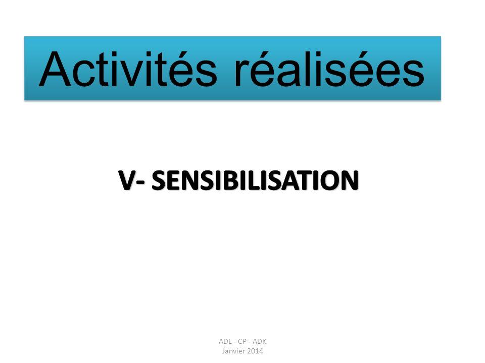 Activités réalisées V- SENSIBILISATION Parler des réunions en amont