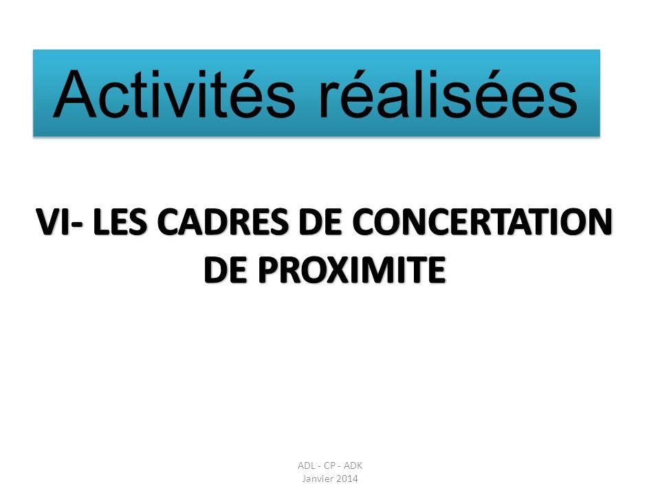 VI- LES CADRES DE CONCERTATION DE PROXIMITE