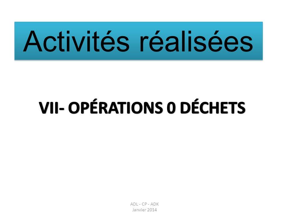 VII- OPÉRATIONS 0 DÉCHETS