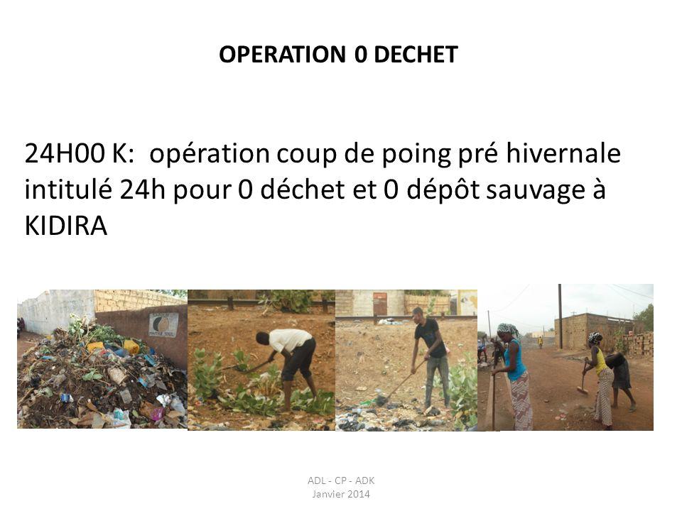 OPERATION 0 DECHET 24H00 K: opération coup de poing pré hivernale intitulé 24h pour 0 déchet et 0 dépôt sauvage à KIDIRA.