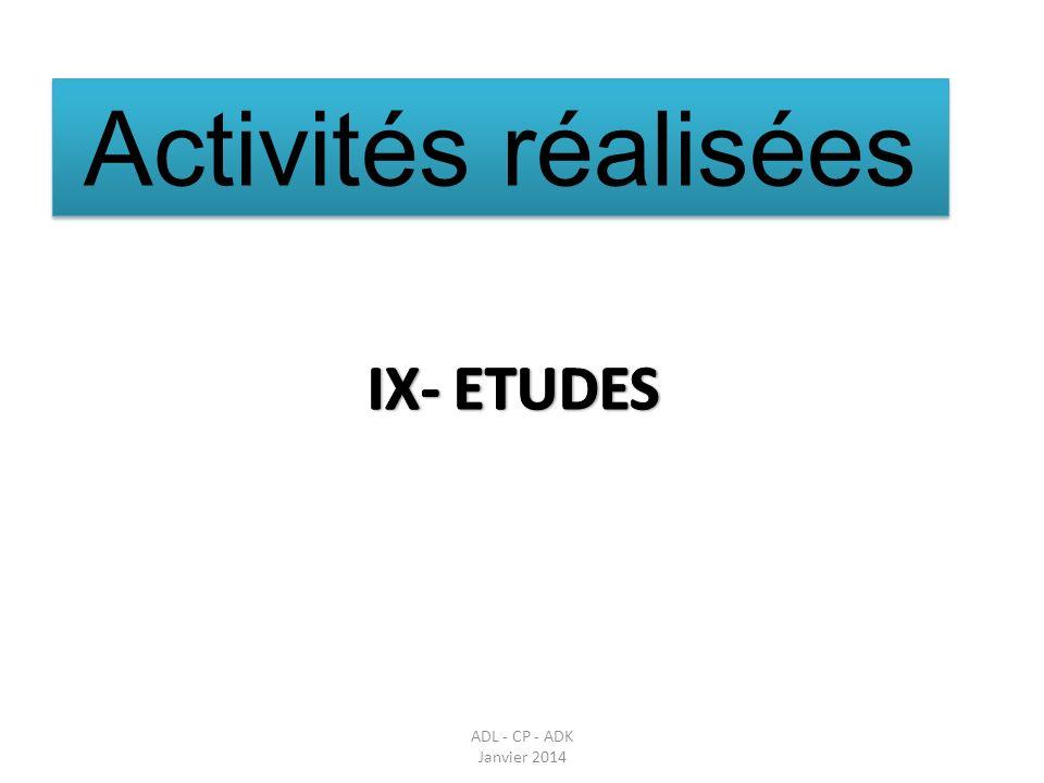 Activités réalisées IX- ETUDES Parler des réunions en amont