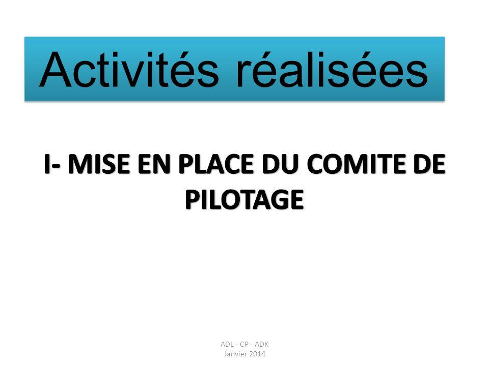I- MISE EN PLACE DU COMITE DE PILOTAGE