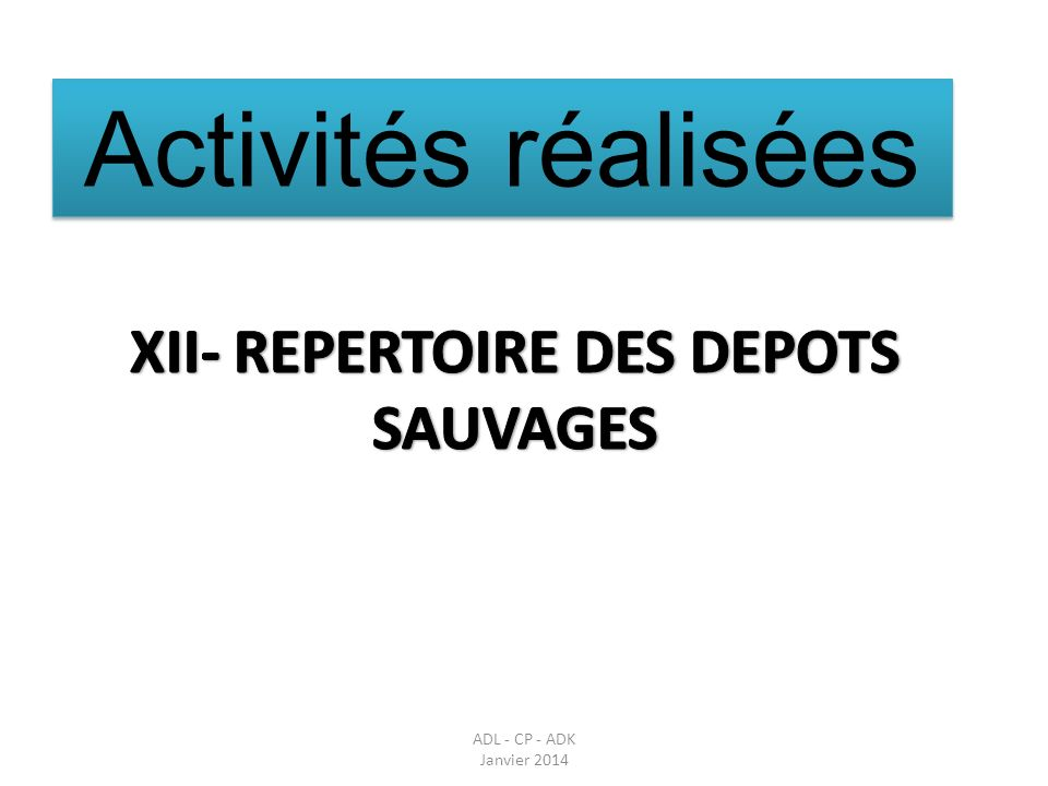 XII- REPERTOIRE DES DEPOTS SAUVAGES