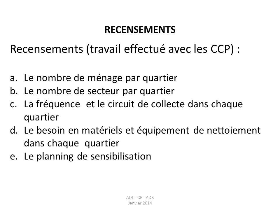 Recensements (travail effectué avec les CCP) :