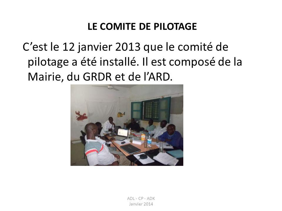LE COMITE DE PILOTAGE C'est le 12 janvier 2013 que le comité de pilotage a été installé. Il est composé de la Mairie, du GRDR et de l'ARD.