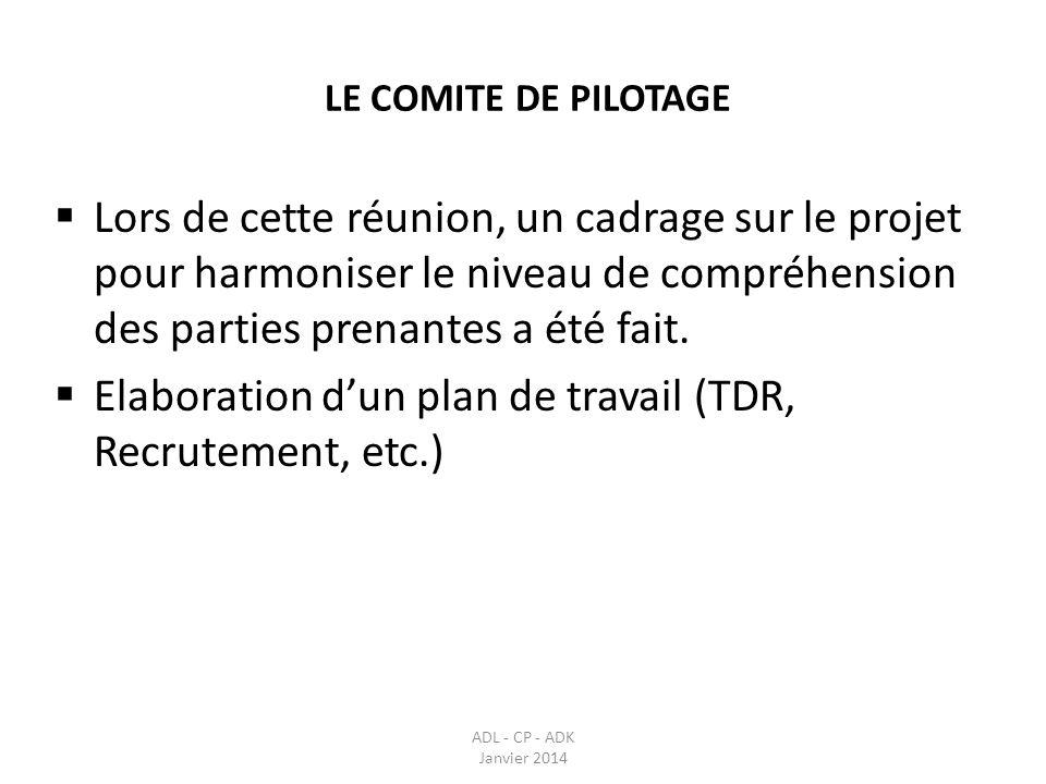 Elaboration d'un plan de travail (TDR, Recrutement, etc.)
