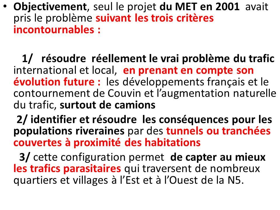 Objectivement, seul le projet du MET en 2001 avait pris le problème suivant les trois critères incontournables :