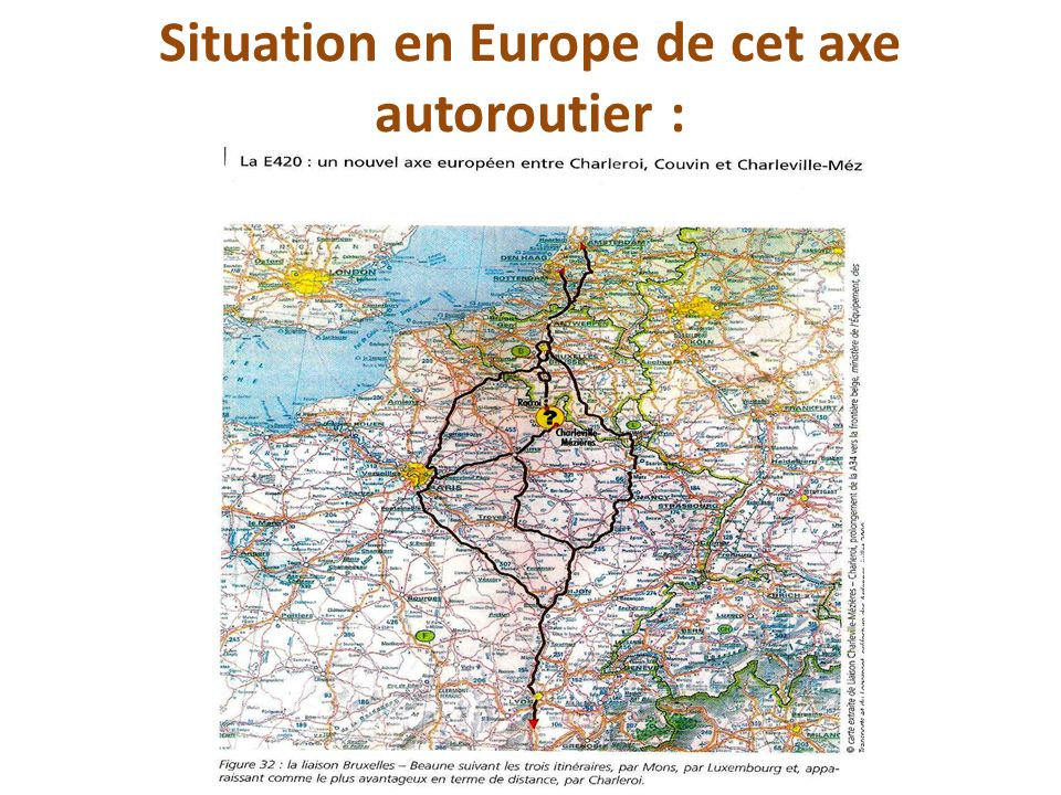 Situation en Europe de cet axe autoroutier :