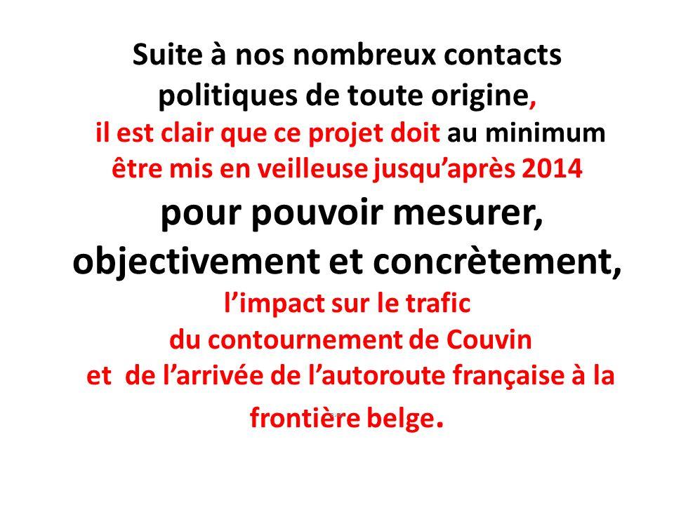 Suite à nos nombreux contacts politiques de toute origine, il est clair que ce projet doit au minimum être mis en veilleuse jusqu'après 2014 pour pouvoir mesurer, objectivement et concrètement, l'impact sur le trafic du contournement de Couvin et de l'arrivée de l'autoroute française à la frontière belge.