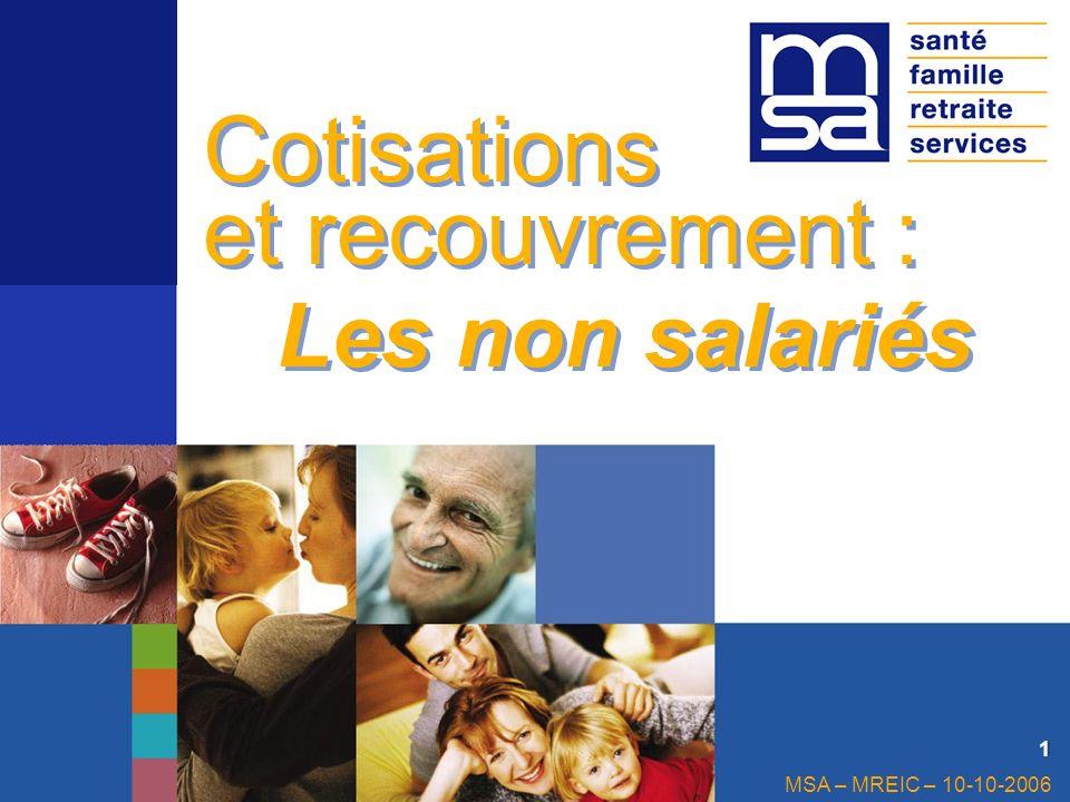 Cotisations et recouvrement : Les non salariés